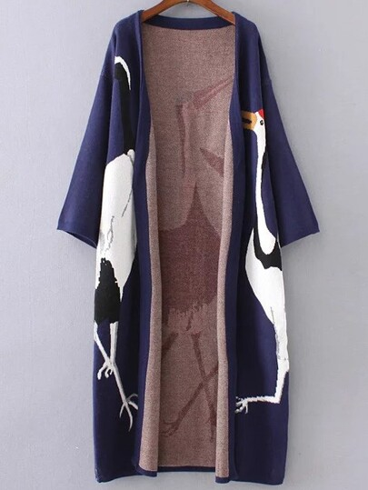 Navy Crane Pattern Drop Shoulder Long Cardigan