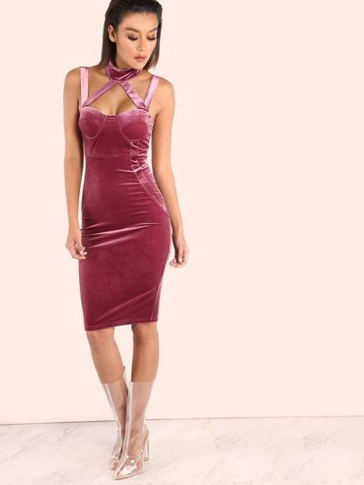 Strappy Velvet Bustier Bodycon Dress FUCHSIA