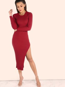 Sleeved Crew Neck Maxi Slit Knit Dress RED