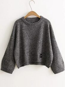 Dark Grey Patch Detail Drop Shoulder Sweater