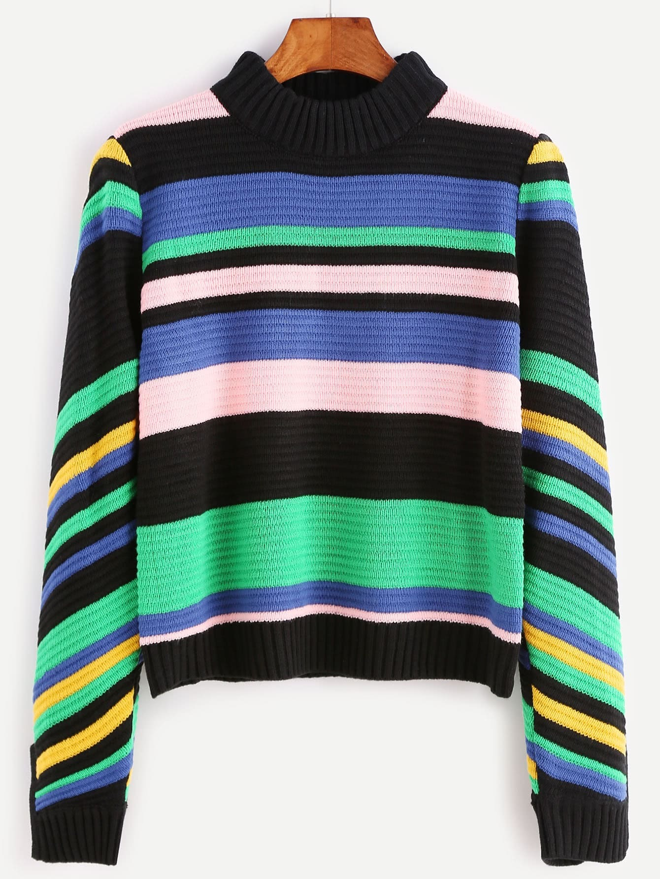 Multicolor Mixed Stripe Slit Cuff Ribbed Sweater sweater160817704