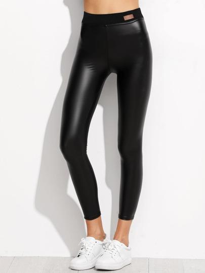 Leggins de cuero sintético y cintura elástica - negro