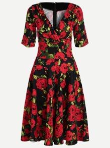 Red Floral Print V Neck Short Sleeve Dress
