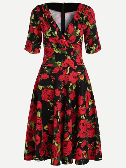 Red Floral Print V Neck Short Sleeve Dress