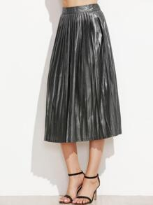 Metallic Silver Pleated A-Line Skirt