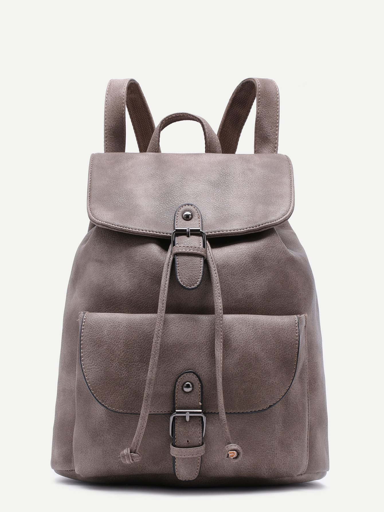 Фото Grey PU Buckle Strap Drawstring Flap Backpack. Купить с доставкой