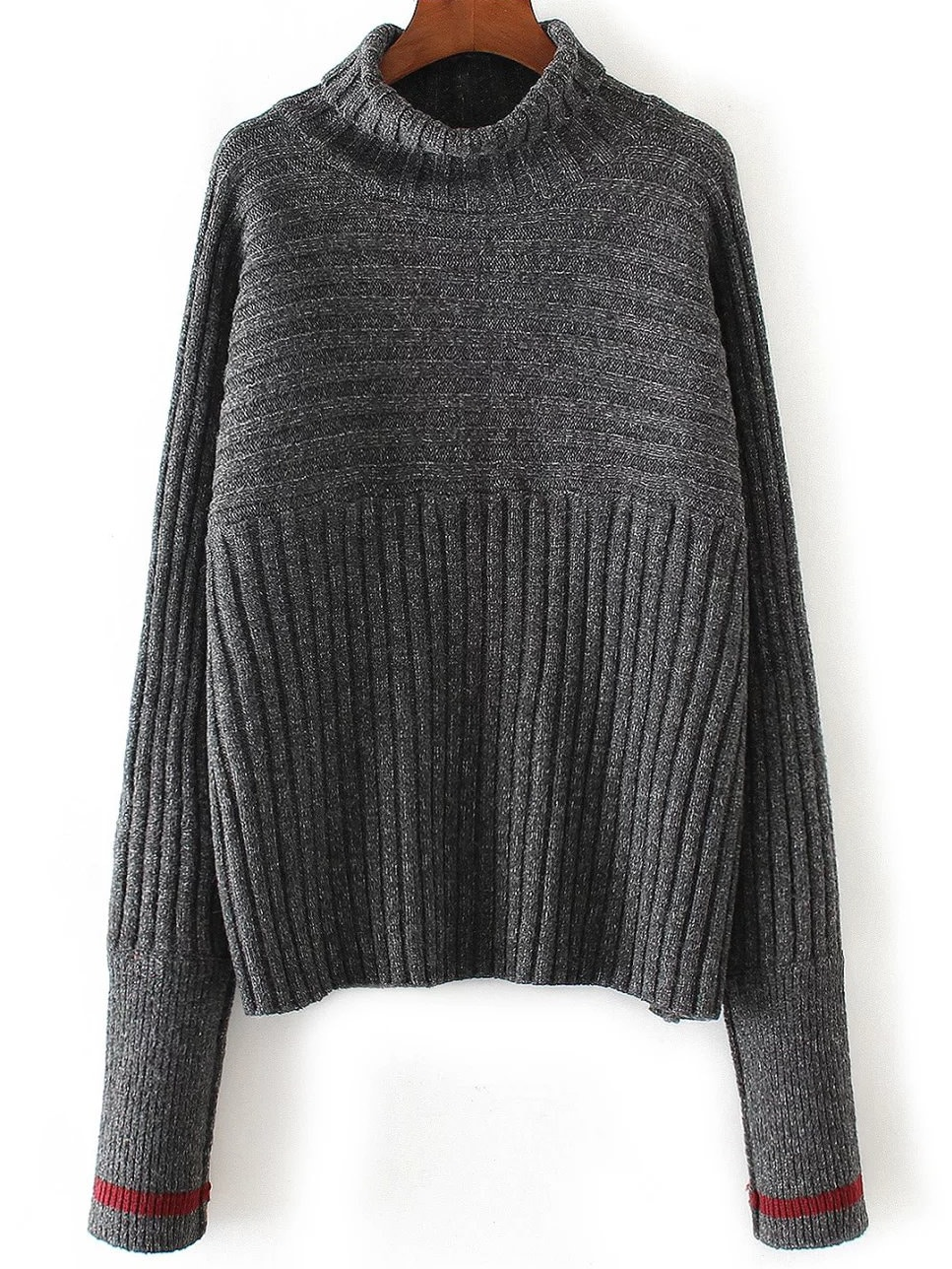 Dark Grey Turtleneck Contrast Cuff Ribbed Sweater sweater161014201