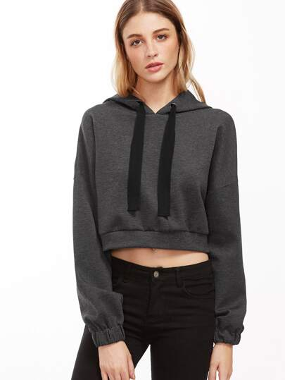 Dark Grey Drop Shoulder Crop Hoodie