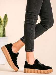 Black Faux Suede Lace Up Rubber Sole Low Top Sneakers