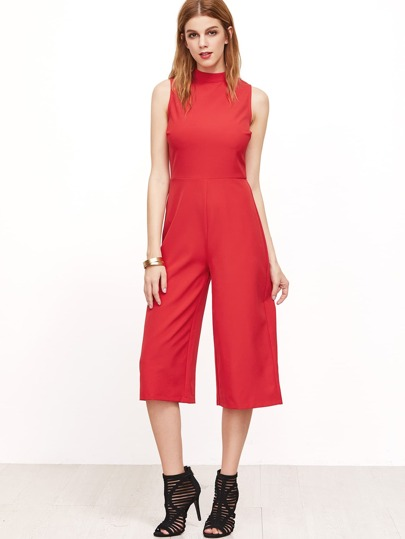 Red Sleeveless Cropped Wide Leg Jumpsuit
