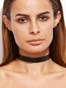 Black Faux Leather Simple Choker Necklace