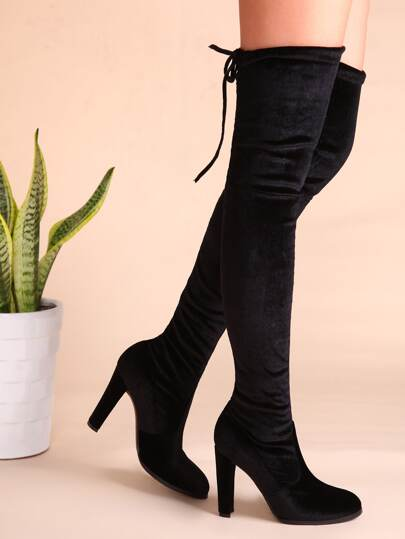 Black Velvet Point Toe Lace Back Over The Knee Boots