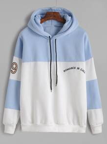 Color Block Number Letter Embroidery Hooded Sweatshirt