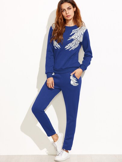 Angel Wings Print Tracksuit