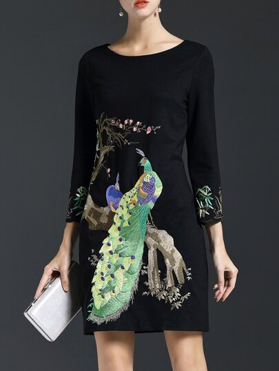 Black Peacock Embroidered Sheath Dress