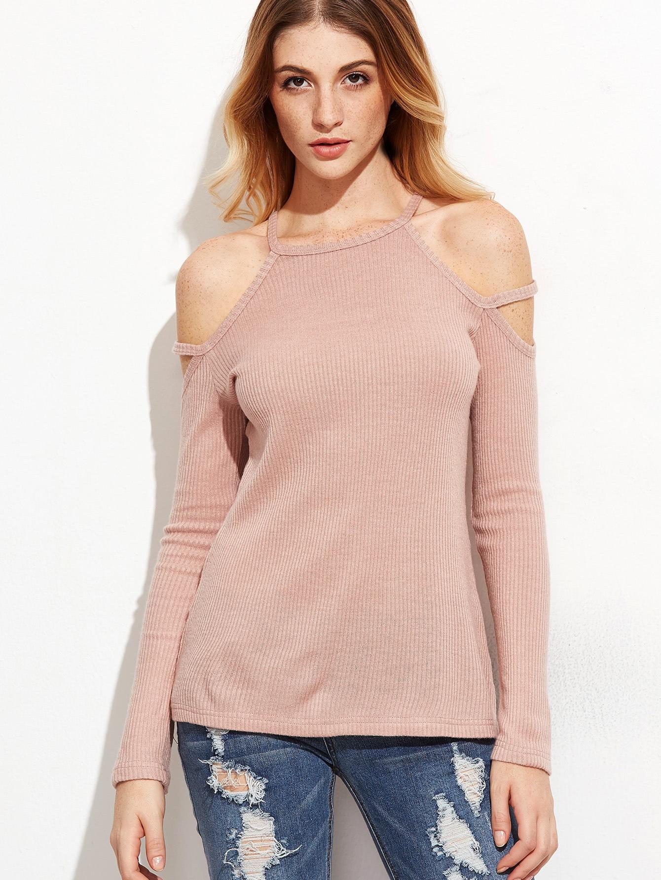 Фото Strappy Cold Shoulder Ribbed T-shirt. Купить с доставкой
