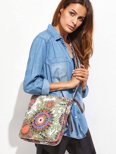 Canvas Tribal Print Zip Closure Crossbody Bag
