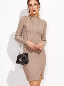 Khaki Mock Neck Slit Hem Buttons Sweater Dress