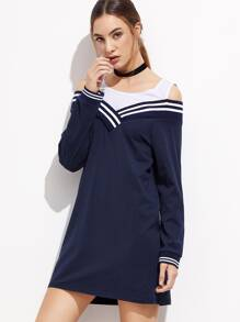 Contrast Open Shoulder Striped Trim Sweatshirt Dress