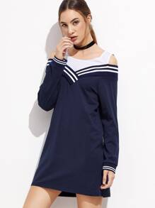 Contrast Open Shoulder Striped Trim Sweatshirt Dress