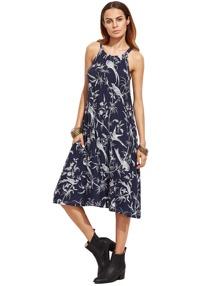 Navy Halter Floral Birds Print Pockets Dress