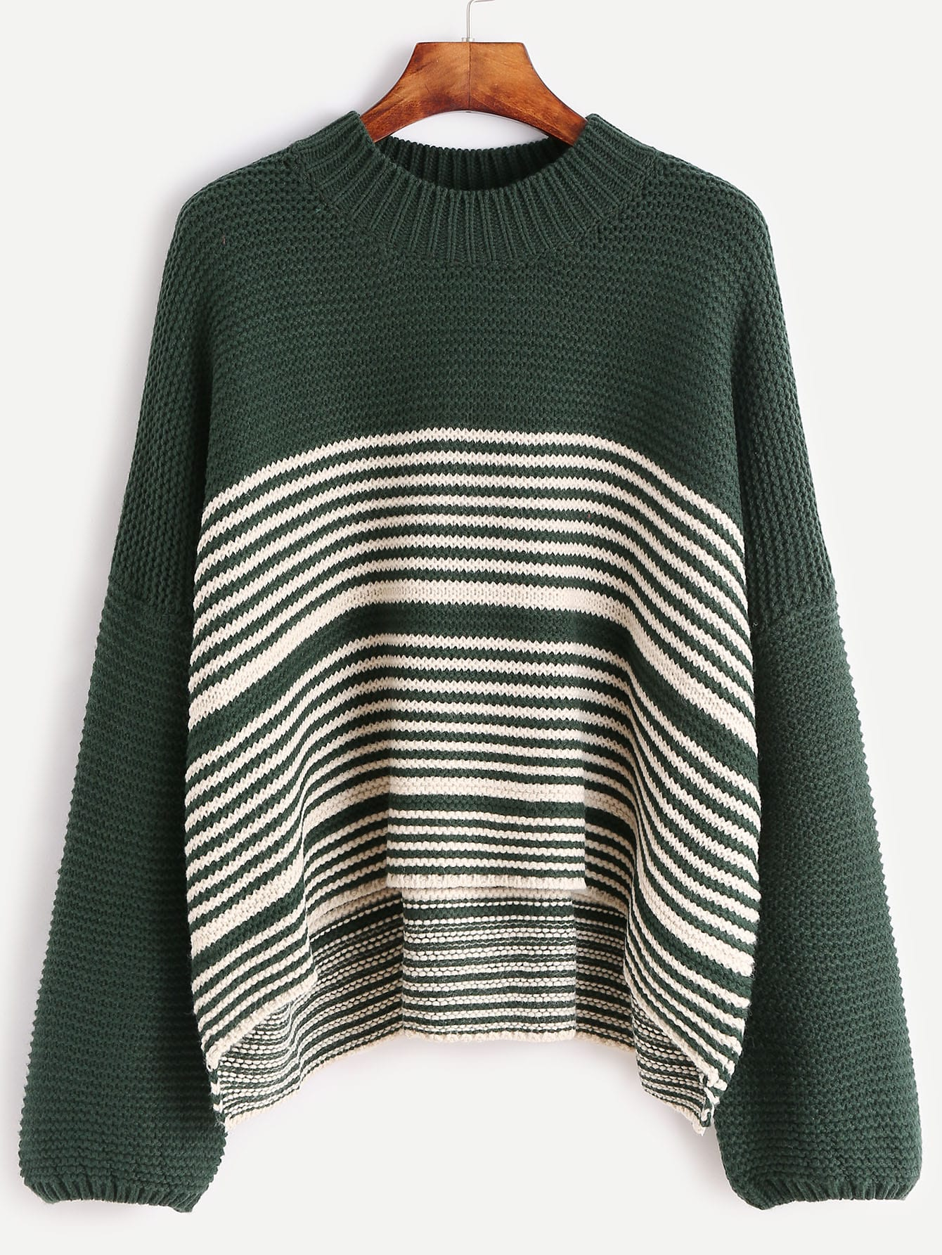 Green Contrast Striped Drop Shoulder SweaterGreen Contrast Striped Drop Shoulder Sweater<br><br>color: Green<br>size: one-size