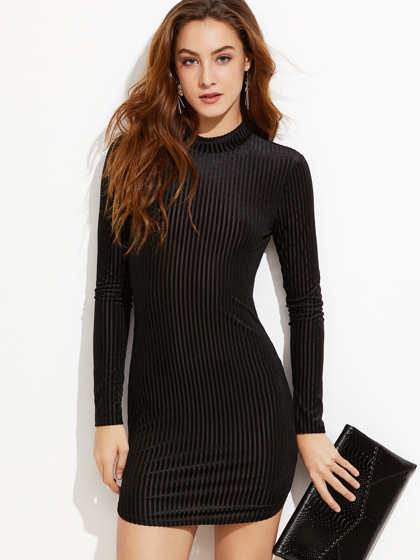 Black Mock Neck Keyhole Back Striped Velvet Bodycon DressBlack Mock Neck Keyhole Back Striped Velvet Bodycon Dress<br><br>color: Black<br>size: L,M,XS