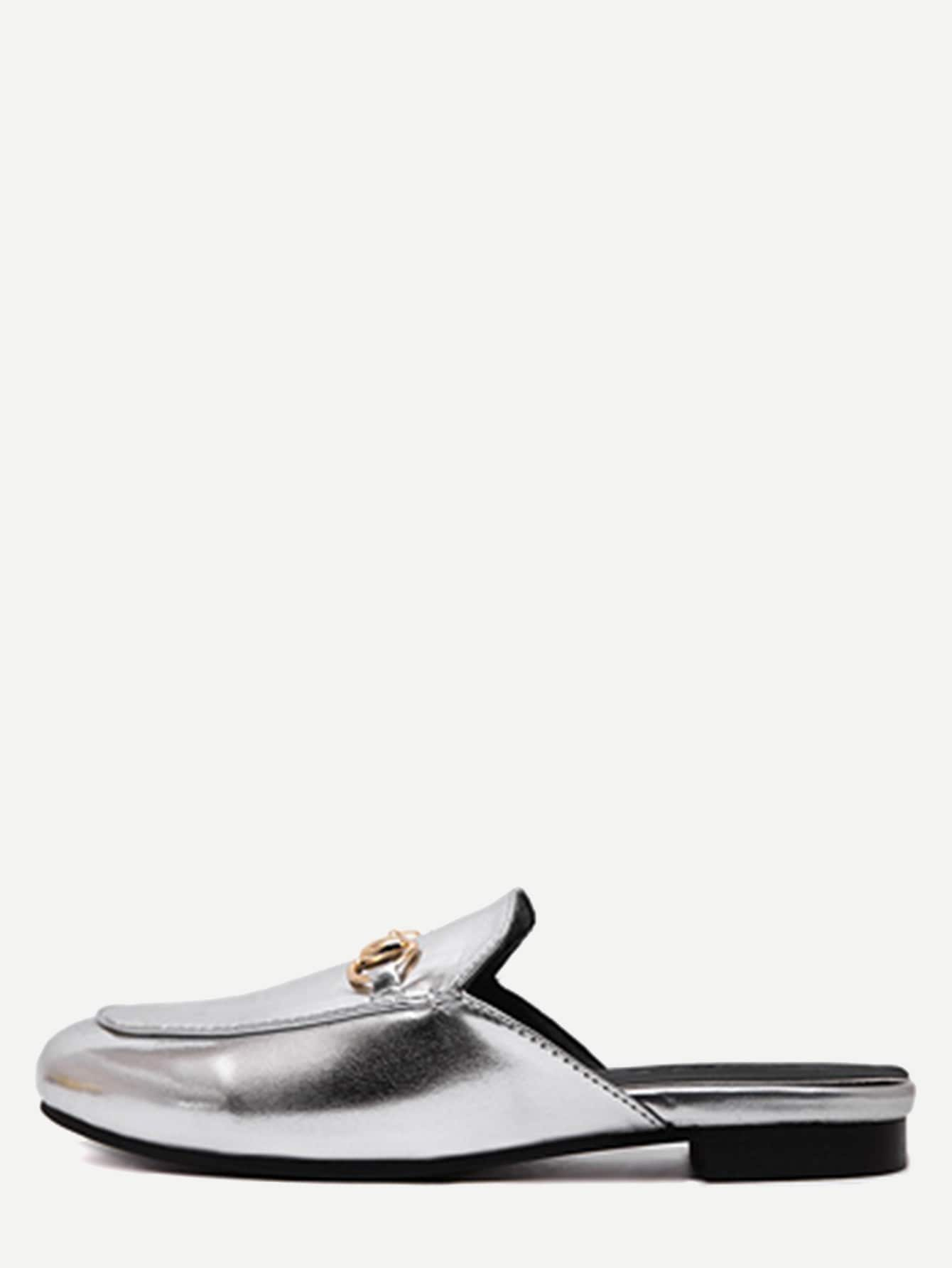 Image of Silver Faux Leather Flat Loafer Slippers