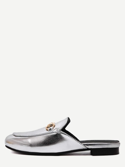 Silver Faux Leather Flat Loafer Slippers