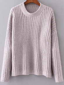 Purple Round Neck Drop Shoulder Sweater