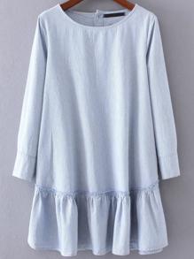 Blue Vertical Striped Button Back Ruffle Hem Dress