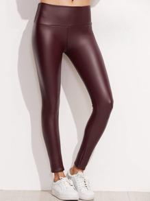 Burgundy Faux Leather Leggings