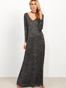 Grey Marled Knit Double V Neck Maxi Dress