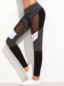 Mesh Einsatz Leggings -kontrastfarbe
