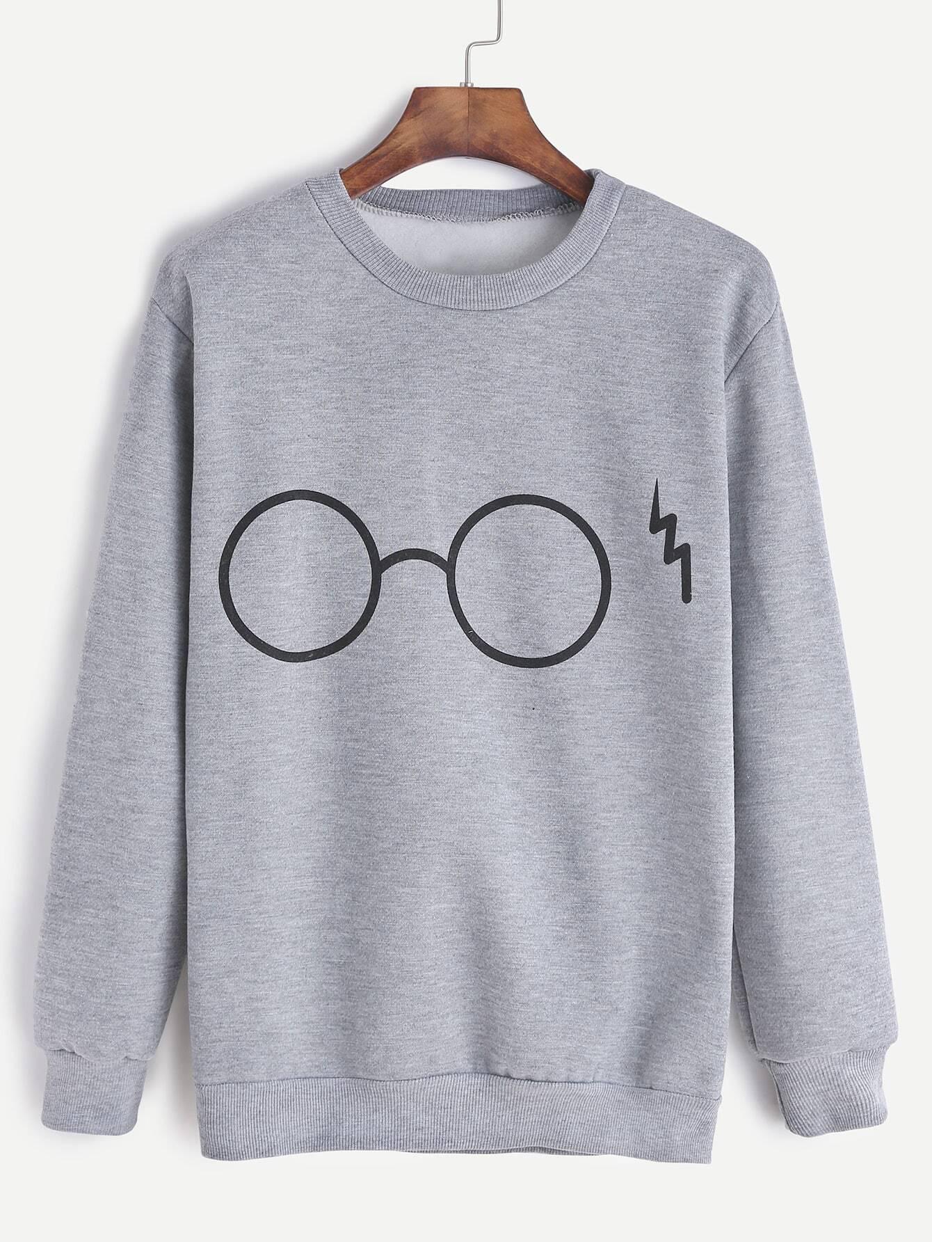 Glasses Print Sweatshirt sweatshirt161021106