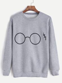 Glasses Print Sweatshirt