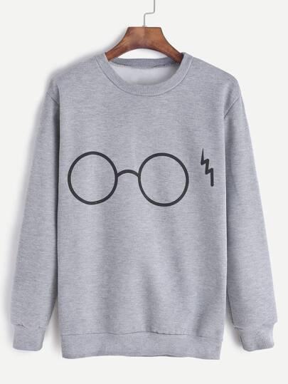 Sudadera con estampado de gafas - gris