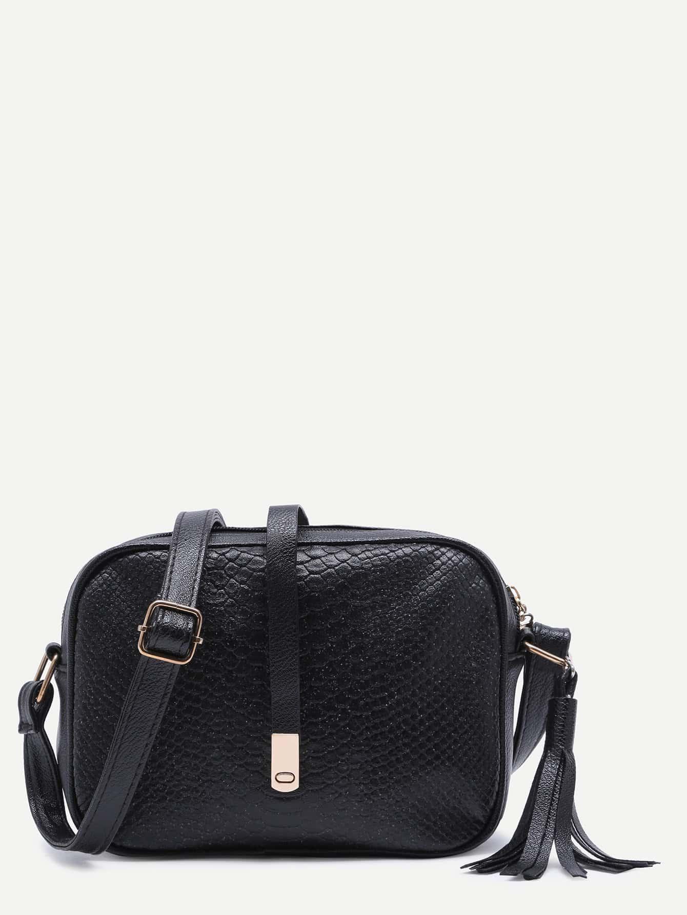Фото Snakeskin PU Tassel Crossbody Bag. Купить с доставкой