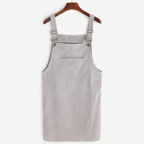 Front Pocket Corduroy Overall Dress, Grey