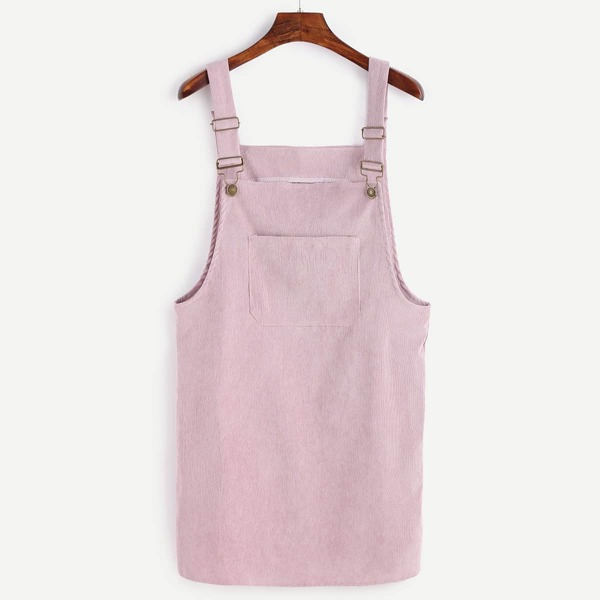 Front Pocket Corduroy Overall Dress, Purple pastel