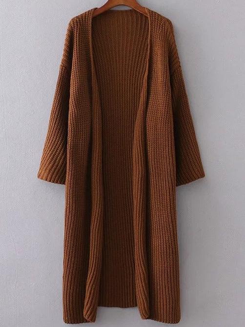 Khaki Collarless Drop Shoulder Long Cardigan sweater161007202