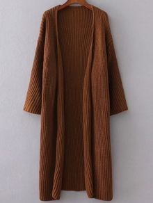 Khaki Collarless Drop Shoulder Long Cardigan