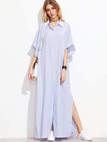 فستان نمط قميص مخطط عمودي أزرق حجم كبير