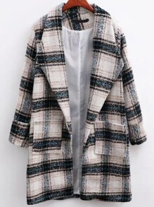 White Plaid Shawl Collar Coat With Pocket