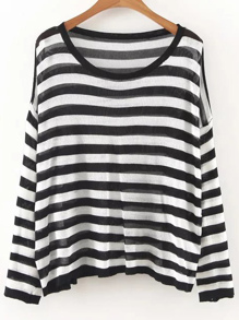 Black And White Striped Drop Shoulder Knitwear