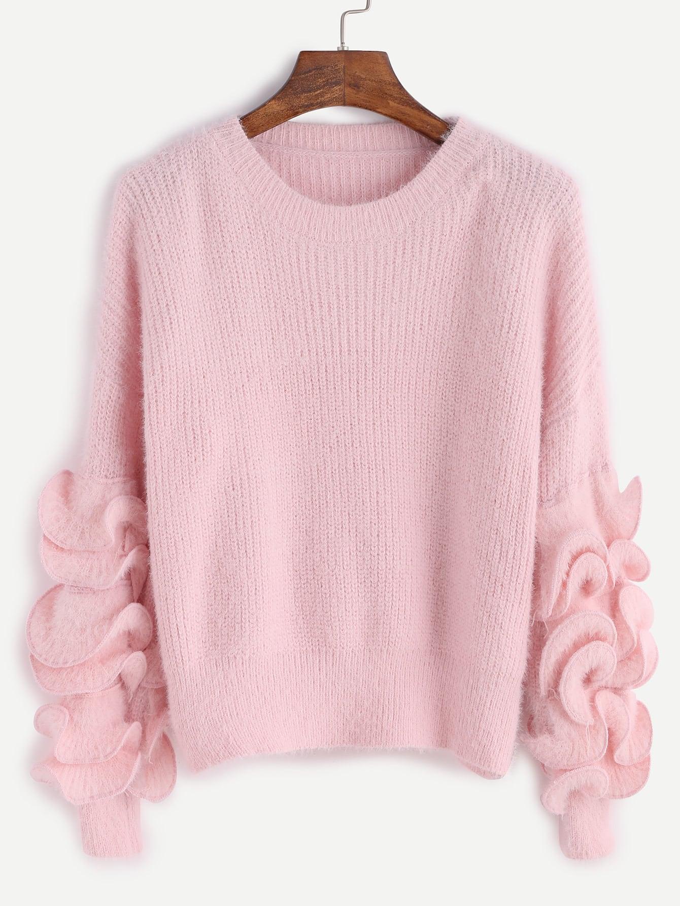 Pink Drop Shoulder Ruffle Trim Fuzzy Sweater sweater161017105