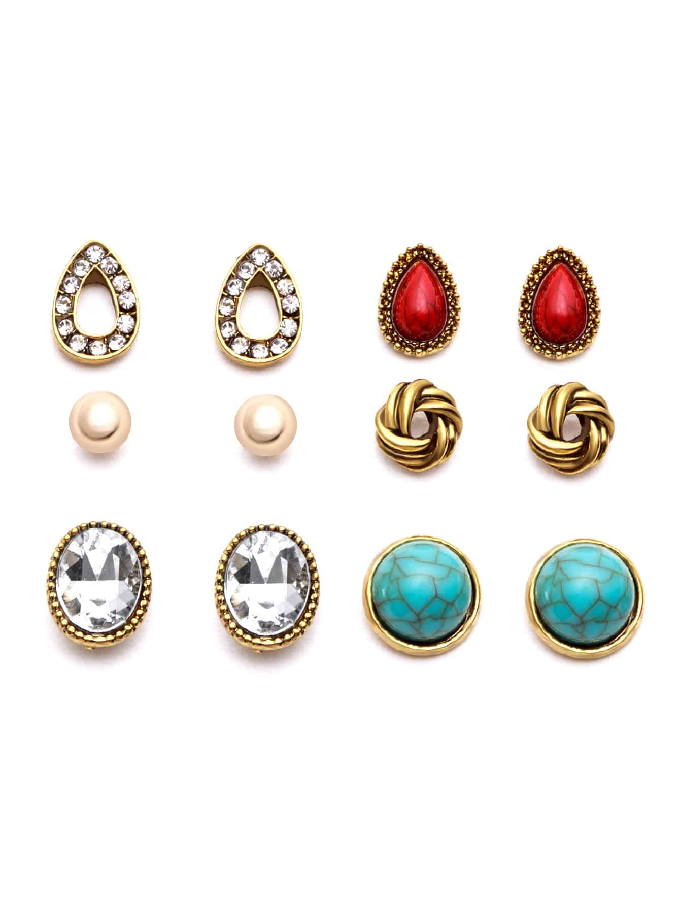 Gold Plated Gemstone Multi Shape Stud Earrings Set gold plated banana plug jack connector set golden 3 5mm 10 pairs