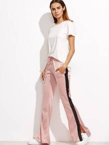 Pink Striped Sideseam Slit Drawstring Pants