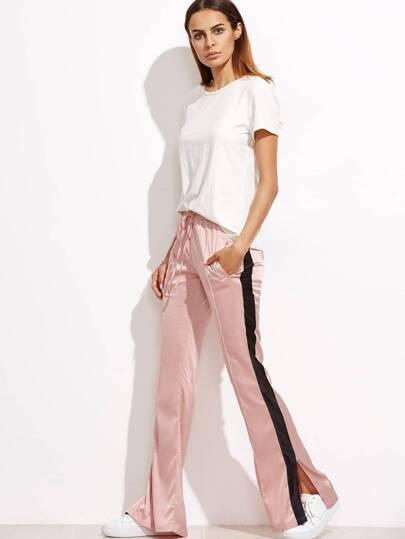 Pantalons à rayure avec lacet - rose