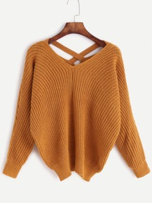 Khaki V Neck Criss Cross Back Sweater